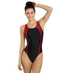 Sporti Piped Splice Wide Strap Swimsuit