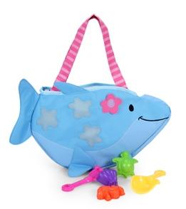 Stephen Joseph Kids' Dolphin Beach Tote (Includes Sand Toy Set)