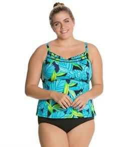 South Point Retro Tropics Plus Size Pina Colada Tankini Top