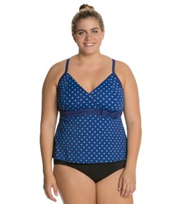 South Point Sunkiss Dot Plus Size Crossback Tankini Top
