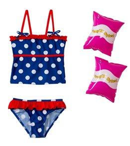 Jump N Splash Girls' Polka Dot Tankini Set w/FREE Armband (2T-4T)