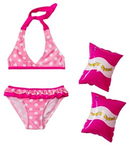 Jump N Splash Girls' Pink Polka Dot Bikini Set w/FREE Armband (2T-4T)
