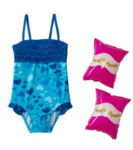 Jump N Splash Girls' Blue Heart Ruffle One Piece w/FREE Armband (2T-4T)