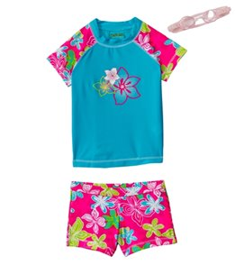 Jump N Splash Girls' Blue Hibiscus S/S Rashguard Set w/ FREE Goggles (4-12)