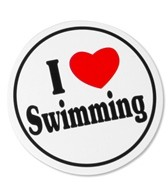 Bay Six I Love Swimming Round Decal