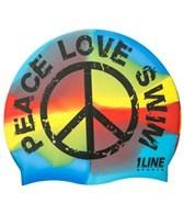 1Line Peace Love Swim Tie Dye Silicone Cap