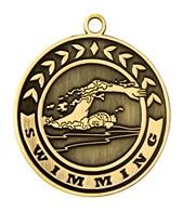 2 Swimming Die Cast Medal