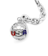 Sports Collection Jewelry Large Water Polo Ball with USA Pendant Rhodium Plated