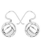 Sports Collection Jewelry Water Polo Ball Dangling Earrings Rhodium Plated