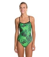 Sporti Polyester Marbled Thin Strap Swimsuit