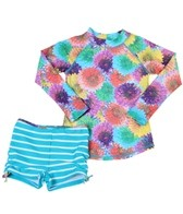 Cabana Life Girls' Flower Power Rashguard Boyshort Set (2T-6X)