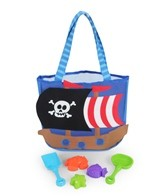 Stephen Joseph Kids' Pirate Beach Tote (Includes Sand Toy Set)