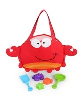 Stephen Joseph Kids' Crab Beach Tote (Includes Sand Toy Set)