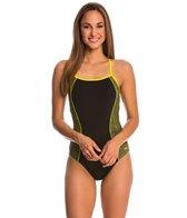 Speedo Watergrid Splice Clip Back One Piece Swimsuit