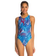Illusions Activewear Fireworks Water Polo One Piece Swimsuit