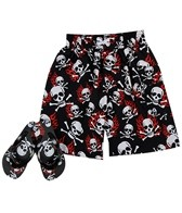 Jump N Splash Boys' Fire Skull Swim Trunk w/ FREE Flipflops (4-14)