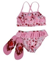 Jump N Splash Girls' Ice Cream Bikini Set w/ FREE Flipflops (4-12)