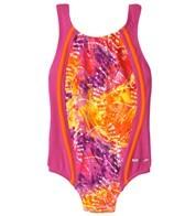 Speedo Girls' Rainforest Tie Dye Sport Splice One Piece (4-6X)