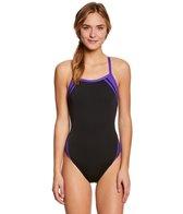 Waterpro Poly Splice Thin Strap One Piece Swimsuit