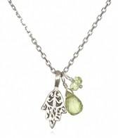 Satya Jewelry Peridot Hamsa Necklace