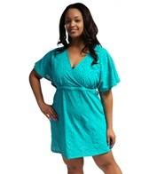 Sunsets Plus Size Coastal Crochet Tropical Teal Getaway Surplice Dress