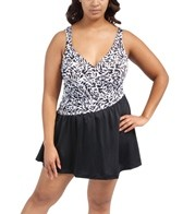 Maxine Plus Size Twist & Shout Asymmetrical Surplice Swim Dress