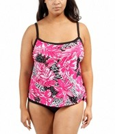 Maxine Plus Size Drift Away Scoop Faux Tankini One Piece