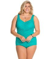 Maxine Plus Size Spa Shirred Front Girl Leg One Piece