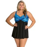 Delta Burke Plus Size Tigress Draped Swim Dress