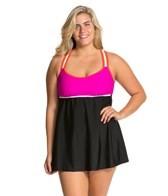 Delta Burke Plus Size Sporty Solid Racerback Swim Dress