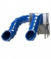 Spectrum Double Flume Slides on Left & Center Rear Stair Pool Slide