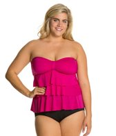 Kenneth Cole Ruffle-Licious Plus Size Tiered Tubini Top