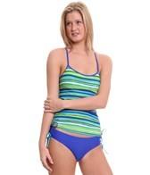 Reebok Fitness Hannah Stripe Side Shirred Tankini Top