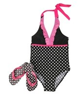 Jump N Splash Girls' Black and White Polka Dot One Piece w/ FREE Flipflops (4-12)
