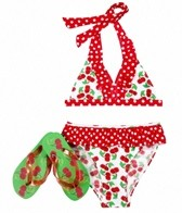 Jump N Splash Girls' Cherries Halter Set w/ FREE Flipflops (4-12)