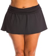 La Blanca Plus Size Solid Shirred Band Slit Skirted Hipster Bottom