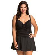 La Blanca Plus Size Core Solid Sweetheart Skirted Mio One Piece