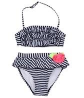 Flapdoodles Girls' Striped Ruffle Rosette Bikini Set (4-6X)