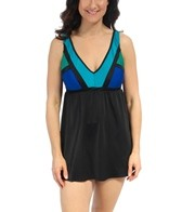Longitude Between the Lines V-Neck Swimdress