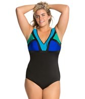 Longitude Between the Lines Plus Size V-Neck Tank One Piece