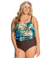 T.H.E. Liquid Gold Plus Size Triple Tier Tankini One Piece