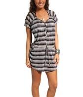 J. Valdi Tie Dye Stripe Button Front Blouson Dress