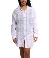 J. Valdi Gauze Plaid Plus Size Button Down Shirt