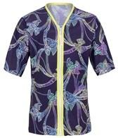 Platypus Girls' Tie Dye Birds Piped Zip Front S/S Rashguard (8-14)
