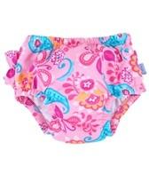 iPlay Girls' Pink Paisley Ruffle Swim Diaper (6mos-3yrs)