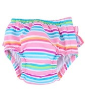 iPlay Girls' Pink Multistripe Ruffle Swim Diaper (6mos-3yrs)