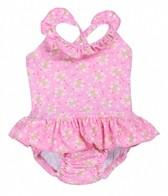 iPlay Girls' Pink Posies Ruffle Swim Diaper Tanksuit (6mos-3yrs)