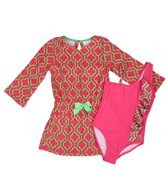 Cabana Life Girls' Preppy in Pink One Piece Swimsuit & Terry Cover Up Set (4-6X)