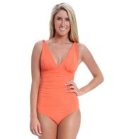Carmen Marc Valvo Mediterranean Solids Shirred One Piece
