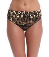 Carmen Marc Valvo Zanzibar Leopard Shirred Bottom